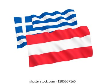 National fabric flags of Austria and Greece isolated on white background. 3d rendering illustration.