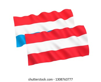 National fabric flags of Austria and Luxembourg isolated on white background. 3d rendering illustration. 1 to 2 proportion.