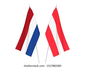 National fabric flags of Austria and Netherlands isolated on white background. 3d rendering illustration.