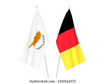 National fabric flags of Belgium and Cyprus isolated on white background. 3d rendering illustration.