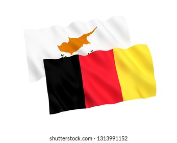 National fabric flags of Belgium and Cyprus isolated on white background. 3d rendering illustration. 1 to 2 proportion.