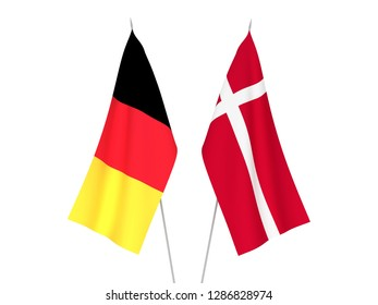 National fabric flags of Belgium and Denmark isolated on white background. 3d rendering illustration.