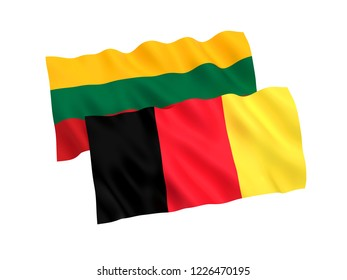 National fabric flags of Belgium and Lithuania isolated on white background. 3d rendering illustration.