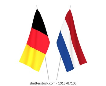 National fabric flags of Belgium and Netherlands isolated on white background. 3d rendering illustration.