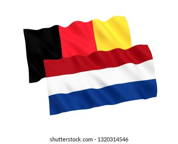 National fabric flags of Belgium and Netherlands isolated on white background. 3d rendering illustration. Proportion 1:2