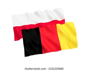National fabric flags of Belgium and Poland isolated on white background. 3d rendering illustration.