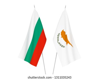 National fabric flags of Bulgaria and Cyprus isolated on white background. 3d rendering illustration.