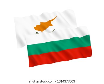 National fabric flags of Bulgaria and Cyprus isolated on white background. 3d rendering illustration. 1 to 2 proportion.