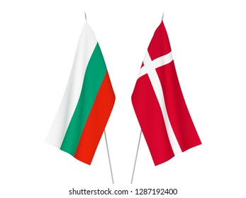 National fabric flags of Bulgaria and Denmark isolated on white background. 3d rendering illustration.