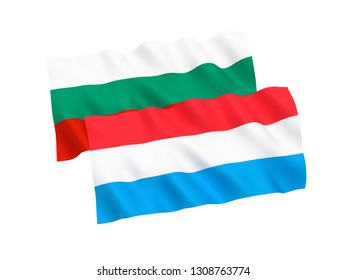 National fabric flags of Bulgaria and Luxembourg isolated on white background. 3d rendering illustration. 1 to 2 proportion.