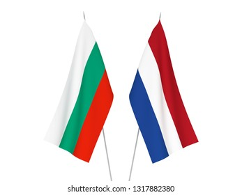 National fabric flags of Bulgaria and Netherlands isolated on white background. 3d rendering illustration.