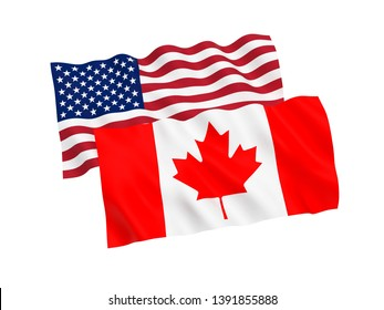 National fabric flags of Canada and America isolated on white background. 3d rendering illustration. 1 to 2 proportion.