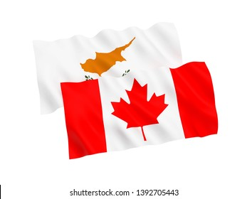 National fabric flags of Canada and Cyprus isolated on white background. 3d rendering illustration. Proportion 1:2