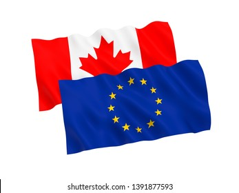 National fabric flags of Canada and European Union isolated on white background. 3d rendering illustration. 1 to 2 proportion.