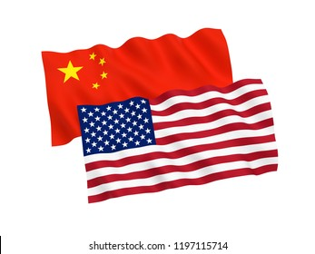 National fabric flags of China and America isolated on white background. 3d rendering illustration.