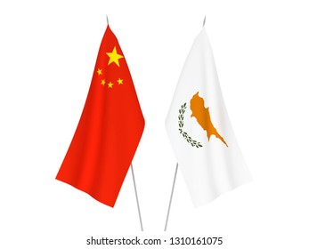 National fabric flags of China and Cyprus isolated on white background. 3d rendering illustration.