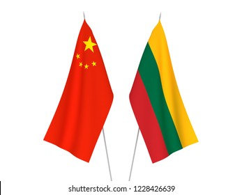 National fabric flags of China and Lithuania isolated on white background. 3d rendering illustration.