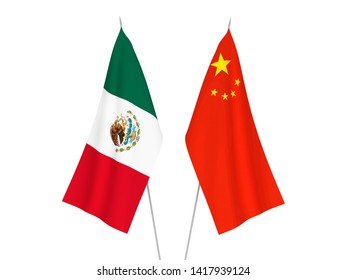 National fabric flags of China and Mexico isolated on white background. 3d rendering illustration.