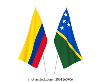 National fabric flags of Colombia and Solomon Islands isolated on white background. 3d rendering illustration.