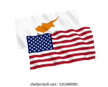 National fabric flags of Cyprus and America isolated on white background. 3d rendering illustration. 1 to 2 proportion.