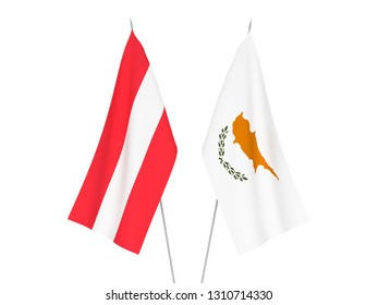 National fabric flags of Cyprus and Austria isolated on white background. 3d rendering illustration.