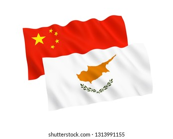 National fabric flags of Cyprus and China isolated on white background. 3d rendering illustration. 1 to 2 proportion.