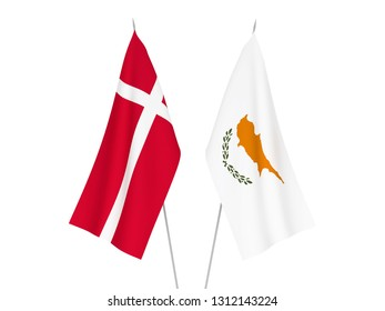 National fabric flags of Cyprus and Denmark isolated on white background. 3d rendering illustration.