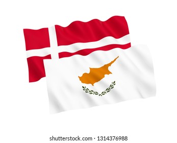 National fabric flags of Cyprus and Denmark isolated on white background. 3d rendering illustration. 1 to 2 proportion.
