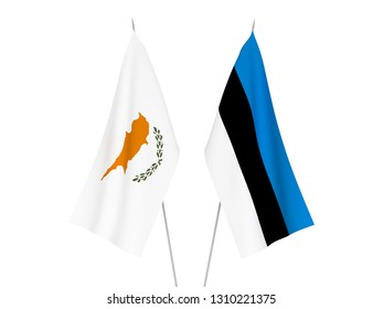 National fabric flags of Cyprus and Estonia isolated on white background. 3d rendering illustration.