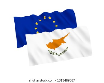 National fabric flags of Cyprus and European Union isolated on white background. 3d rendering illustration. 1 to 2 proportion.