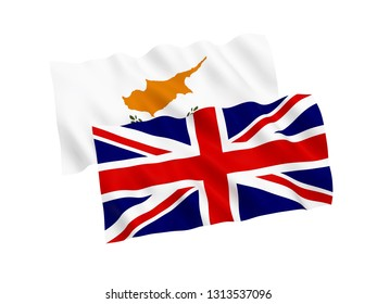 National fabric flags of Cyprus and Great Britain isolated on white background. 3d rendering illustration. 1 to 2 proportion.