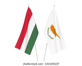 National fabric flags of Cyprus and Hungary isolated on white background. 3d rendering illustration.