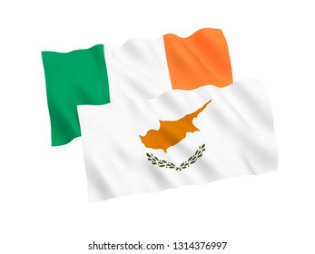 National fabric flags of Cyprus and Ireland isolated on white background. 3d rendering illustration. 1 to 2 proportion.