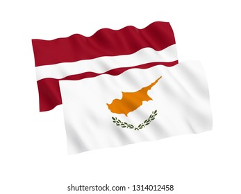 National fabric flags of Cyprus and Latvia isolated on white background. 3d rendering illustration. 1 to 2 proportion.