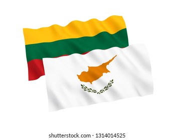 National fabric flags of Cyprus and Lithuania isolated on white background. 3d rendering illustration. 1 to 2 proportion.