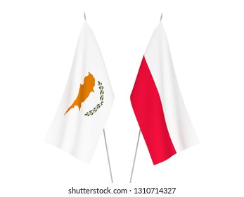 National fabric flags of Cyprus and Poland isolated on white background. 3d rendering illustration.