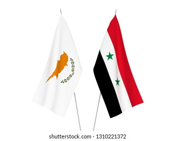 National fabric flags of Cyprus and Syria isolated on white background. 3d rendering illustration.