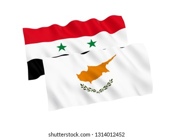 National fabric flags of Cyprus and Syria isolated on white background. 3d rendering illustration. 1 to 2 proportion.