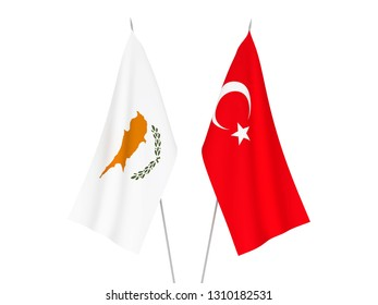 National fabric flags of Cyprus and Turkey isolated on white background. 3d rendering illustration.