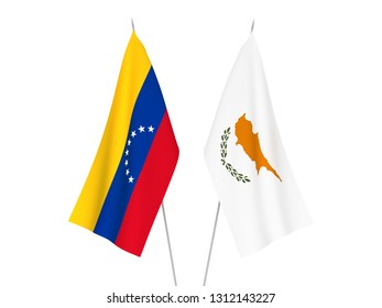 National fabric flags of Cyprus and Venezuela isolated on white background. 3d rendering illustration.