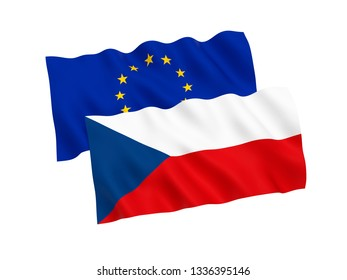 National fabric flags of Czech Republic and European Union isolated on white background. 3d rendering illustration. Proportion 1:2