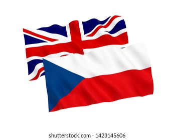 National fabric flags of Czech Republic and Great Britain isolated on white background. 3d rendering illustration. Proportion 1:2