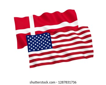National fabric flags of Denmark and America isolated on white background. 3d rendering illustration.