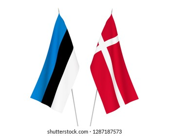 National fabric flags of Denmark and Estonia isolated on white background. 3d rendering illustration.