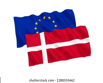 National fabric flags of Denmark and European Union isolated on white background. 3d rendering illustration.