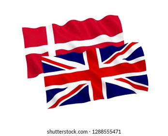 National fabric flags of Denmark and Great Britain isolated on white background. 3d rendering illustration.