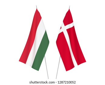 National fabric flags of Denmark and Hungary isolated on white background. 3d rendering illustration.