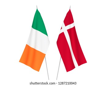 National fabric flags of Denmark and Ireland isolated on white background. 3d rendering illustration.
