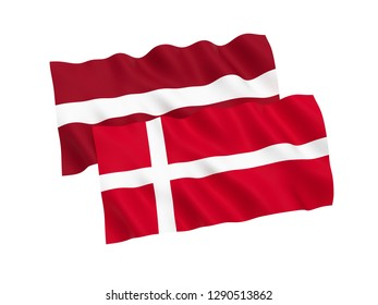 National fabric flags of Denmark and Latvia isolated on white background. 3d rendering illustration.