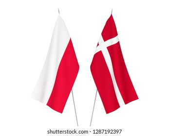 National fabric flags of Denmark and Poland isolated on white background. 3d rendering illustration.